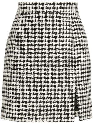 Alessandra Rich Houndstooth Split-Hem Mini Skirt