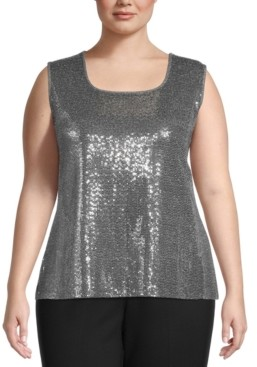Kasper Plus Size Sequin Tank Top
