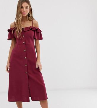 Miss Selfridge button through bardot frill midi dress in purple