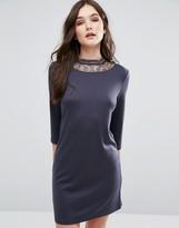 Vila 3/4 Sleeve Dress With Lace Neckline