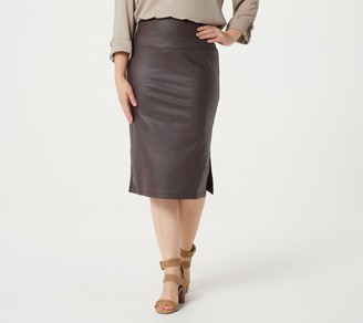 Women With Control Petite Tummy Control Faux Leather Pencil Skirt