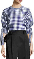 Rosetta Getty Gingham Balloon-Sleeve Blouse, Blue/White