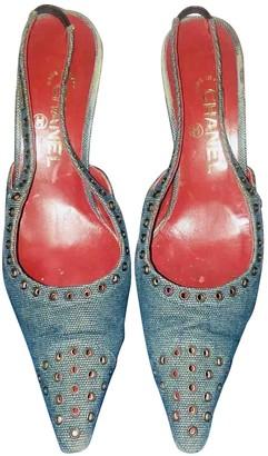 Chanel Slingback Blue Cloth Heels