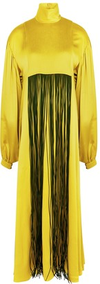 Roksanda Zina chartreuse fringed silk maxi dress
