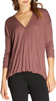 Bobeau Surplice V-Neck Long-Sleeve Top, Burgundy