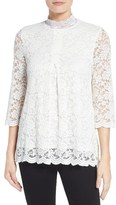 Bobeau Lace Mock Neck Top
