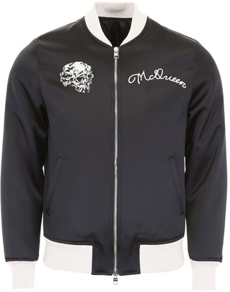 Alexander McQueen Satin Bomber Jacket With Embroidery