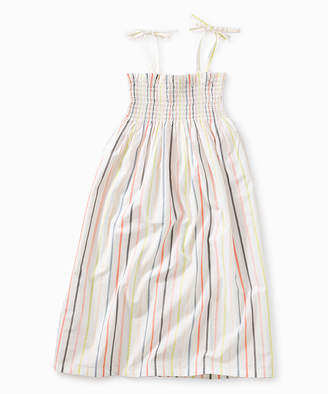 Tea Collection Girls' Casual Dresses Paperwhite - Paper White & Peach Stripe Tie-Shoulder Convertible Dress - Toddler