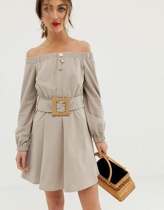 Asos Design DESIGN off shoulder textured mini dress with belt-Beige