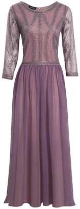 Jywal London EMBELLISHED LONG SLEEVE VIOLET BRIDESMAID MAXI DRESS