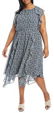 1.state Plus Ruffled Floral Print Dress