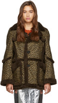 R 13 Brown and Tan Imitation Sheepskin Coat