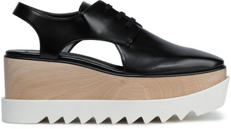 Stella McCartney Cutout Faux Glossed-leather Platform Brogues
