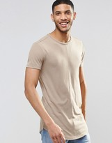 Asos Super Longline Muscle T-shirt With Curved Hem And Seam Detail In Fine Rib In Beige