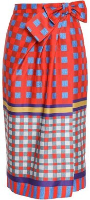 Stella Jean Bow-embellished Checked Twill Skirt