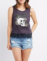 Charlotte Russe Flower Child Graphic Lace-Trim Top
