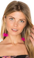 Vanessa Mooney Decades Pom Pom Earrings in Metallic Gold.