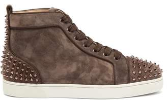 Christian Louboutin Lou Spike Embellished Suede High Top Trainers - Mens - Brown