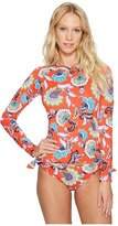 Tommy Bahama Fira Floral Long-Sleeve Half-Zip Rash Guard Women's Swimwear