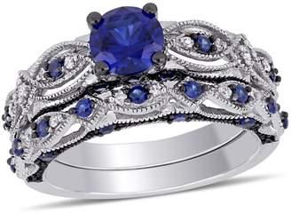 Concerto 10k White Gold 0.1 CT. T.W. Diamond Vintage Filigree Bridal Ring Set