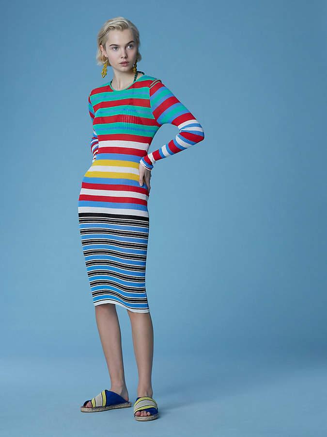 Diane von Furstenberg Long-Sleeve Crew Neck Knit Dress