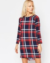 NATIVE YOUTH Long Sleeve Oversize Check Dress