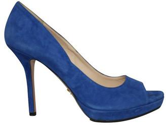 Prada Blue Suede Classic Peep Toe Pumps Size 40