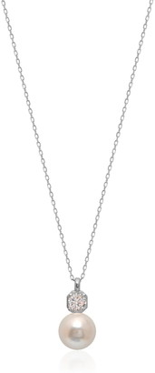 Gab+Cos Designs Sterling Silver CZ Accented 12mm Freshwater Pearl Pendant Necklace