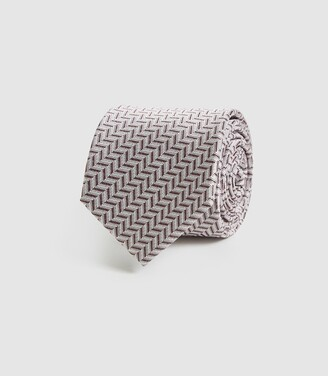 Reiss Ray - Silk Chevron Tie in Pink