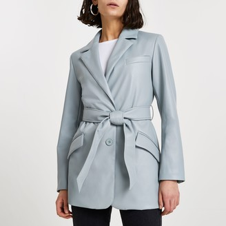 River Island Womens Green faux leather dad blazer