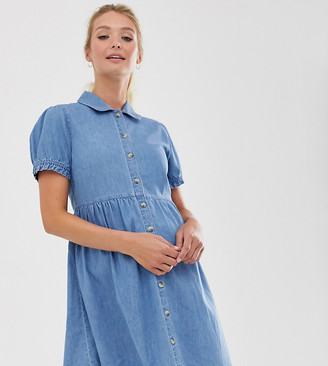 Asos DESIGN Maternity denim mini shirt dress with collar in blue