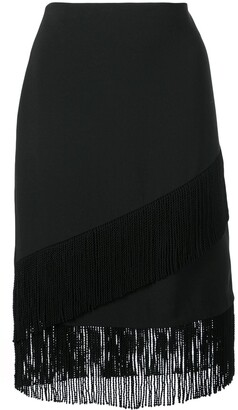 Josie Natori Fringed Crepe Pencil Skirt