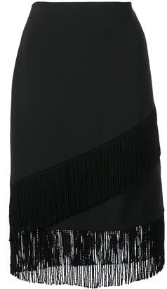 Josie Natori fringed crepe pencil skirt