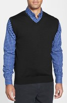 Cutter & Buck 'Douglas' Merino Wool Blend V-Neck Vest (Big & Tall)