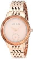 Anne Klein Women's Swarovski Crystal Accented Gold-Tone Bracelet Watch AK/3506CHGB