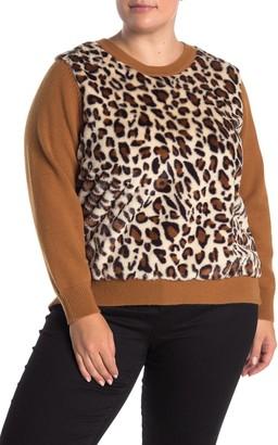 Catherine Malandrino Faux Fur Front Sweater (Plus Size)