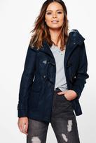 Boohoo Sarah Wool Look Jacket With Faux Fur Hood Lining