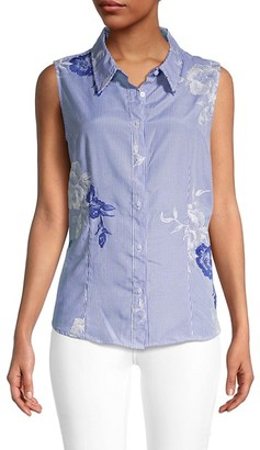 Calvin Klein Sleeveless Striped & Floral Embroidery Top