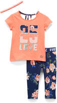 Rbx RBX Girls' Leggings CORAL - Coral Cool & Navy '25 Love' Cage-Back Tee Set - Toddler