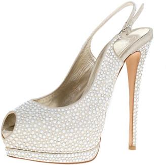 Giuseppe Zanotti Beige Suede Crystal Embellished Peep Toe Platform Slingback Sandals Size 40
