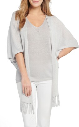Nic+Zoe Gleaming Tie Front Linen Blend Cardigan Sweater
