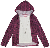Fuchsia Geometric Zip-Up Hoodie & Tee Set - Girls