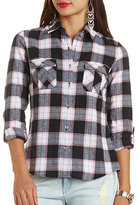 Charlotte Russe Long Sleeve Plaid Flannel Button-Up Top