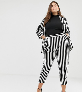 Asos DESIGN Curve tapered suit pants in bold mono stripe