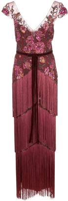 Marchesa floral-embroidered fringed gown