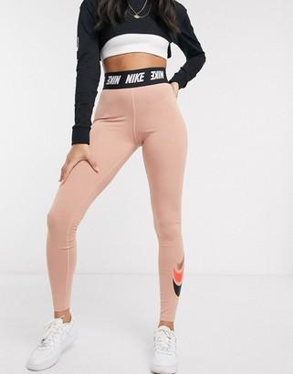 Nike high waisted rose gold leggings triple swoosh