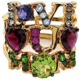 Savvy Cie 18K Vermeil Love You Mom Multi Gems Ring