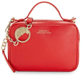 Versace Square Zipped Leather Shoulder Bag