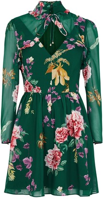 Keepsake About Us Floral-print Chiffon Mini Dress