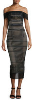 Rachel Gilbert Stretch-Bandage Midi Dress, Black